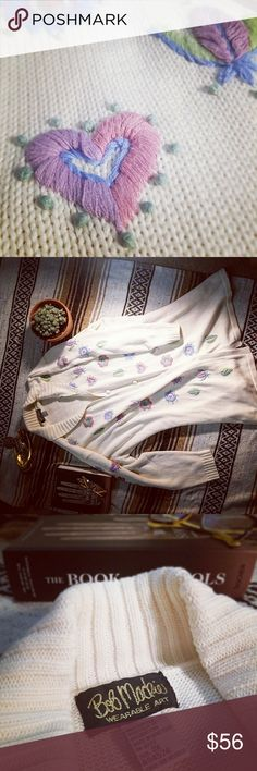 Embroidered Sweatercoat, Bob Mackie Wearable Art BOB MACKIE! pastel flowers. Oversized and cozy. Make a statement. (That statement is, yes, I will rock this sweatercoat). Bob Mackie Sweaters Cardigans