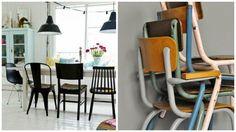chaises dépareillées pour une salle à manger style industrielle. Les chaises d'écoliers et les tolix sont à l'honneur