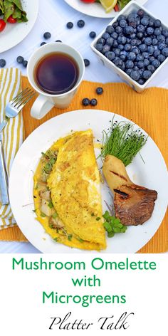 Mushroom omelette with microgreens features organic microgreens and ...