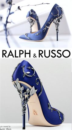Ralph & Russo Eden Pump in Colbalt & Antique Silver
