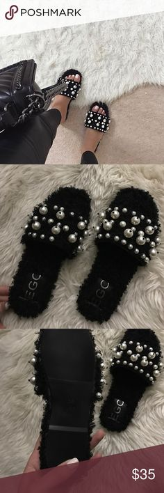 Miu miu style fur sandals Faux shearling fur material. Sooo cute but unfortunately they run small so i am selling so i can get a bigger size. Says size 36/6 but would fit a 5/2 or 5 better. Never worn before Shoes Sandals