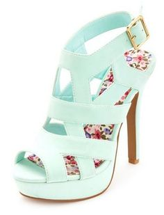 8fc88593463e Gorgeous Mint Heels These mint high heels are just adorable with back  buckle closure and floral printed sole. Cute caged design gives a gorgeous  look.