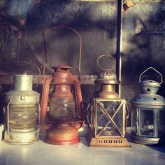 A collection of rustic lanterns converted into tea light lanterns, all different shapes but of a similar size and full of rustic charm. Hire 10 for £25.