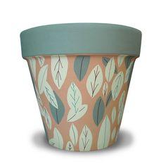 Green Leaves Terra Cotta Garden Planter by MicheleCordaroDesign, $19.00