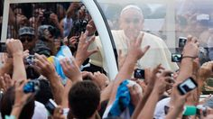 23 July. Pope Francis greeted by ecstatic crowds in Brazil