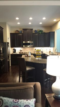 Black cabinets, this is nicer than I expected, and also nice for that small space (always thought small had to be bright)