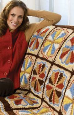 Carousel Throw Free Crochet Pattern from Red Heart Yarns