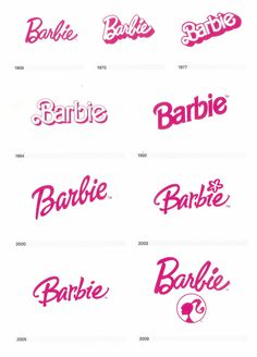 The Barbie logo evolution timeline - throughout the years.   talesfromweirdlan...