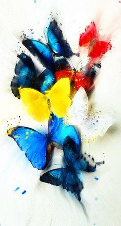 Butterflies In Different Colors Abstract QHD Wallpaper Butterfly Painting, Butterfly Wallpaper, Butterfly Art, Green Wallpaper, Qhd Wallpaper, Iphone Wallpaper, Diamond Art, Chicano, Beautiful Butterflies