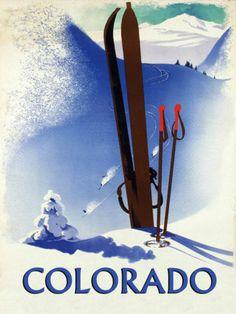 Colorado Ski Winter Race Sport Skis Alps Mountain Vintage Poster
