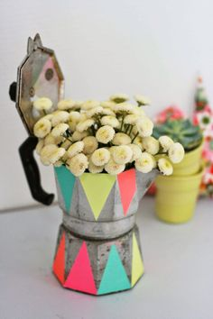 Espresso pot turned flower vase #upcycle