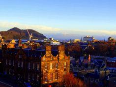 The evening sun over Edinburgh, view from Edinburgh castle