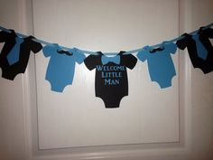 Welcome little man mustache and tie banner blue by 3BoYsDesigns, $15.00