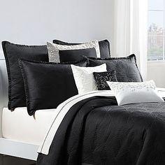 Catherine Malandrino Optic Coverlet Pillow Sham in Black/Ivory