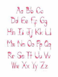 Pink Flamingos Alphabet ABC print от AmelieLegault на Etsy