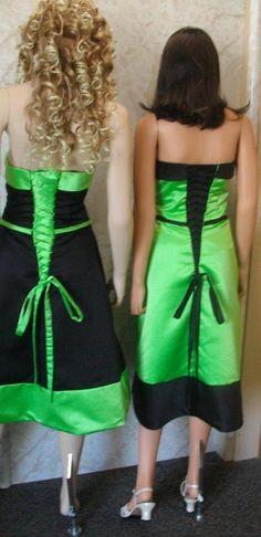 Various bridesmaid dresses, black and green. I love the contrast. The front of these dresses are very simple.
