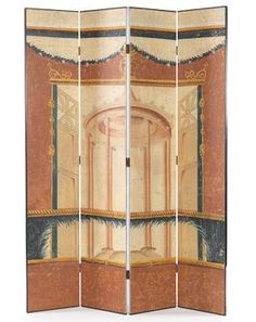 Four Panel Folding Floor Screen