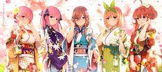no hanayome japanese clothes kimono nakano ichika nakano itsuki nakano miku nakano nino nakano yotsuba yijian ma . Anime Girl Cute, Kawaii Anime Girl, Anime Girl Kimono, Anime Fairy, Anime One, Manga Anime, Anime Group, Anime Kunst, Animation