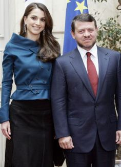 Powerful couple...Queen Rania with her husband King Abdullah II during a visit to France