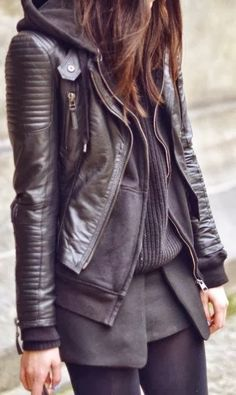 See more Black leather coat, cardigan, sweater and leggings for fall