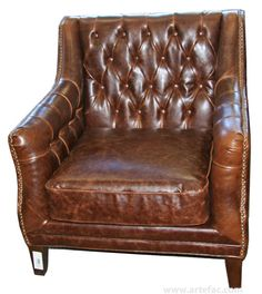 """Antique leather with crack effect gives it a vintage look, this leather will age beautifully over time. made of 100% Genuine Cow hide leather, Kiln Dried Solid Hardwood Frame, High Density Foam with Pirelli straps. These chairs are hand-made individually using traditional techniques and craftsmanship. If you appreciate the distinctive finish of genuine leather, this product is for you !     Dimensions: H-33"""" x W-33"""" x D-31"""" x SD-22"""" x SH-18"""" x between arms 22"""""""