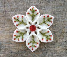 Felt Christmas Snowflake ~ Pinned by facebook.com/MysticsHallow Bath & Body. Custom orders welcome.