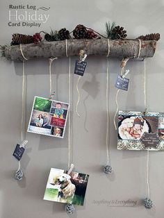 Tree Branch Turned Holiday Card Display