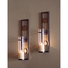 Delightful Set Of 2 Contemporary Metal Wall Candle Holder Sconces