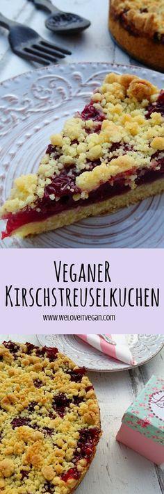Schneller veganer Kirschstreuselkuchen - braucht gute Margarine