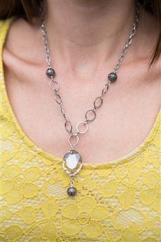 Antique Silver Crystal Solitaire Necklace.