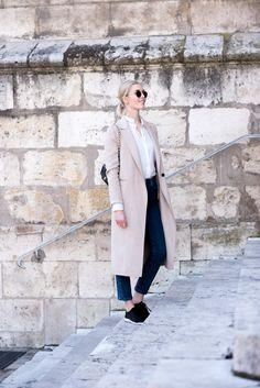 Camel coat - Beige wool coat - Black sneakers look