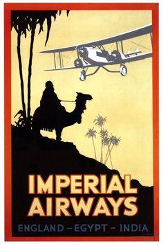 England, Egypt, & India travel poster