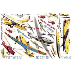 Vintage Planes Take Flight Wall Accents