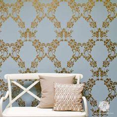 Elegant damask wall stencils with wallpaper look - Floral Cascade Damask Wall Stencils - Royal Design Studio