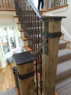 Brilliant Interior Idea For A Warmer House : Rustic Staircase Design Metal Balustrade Wayzata Home Interior