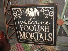 Primitive Lg Wood Holiday Halloween Sign by JustHanginAroundPrim