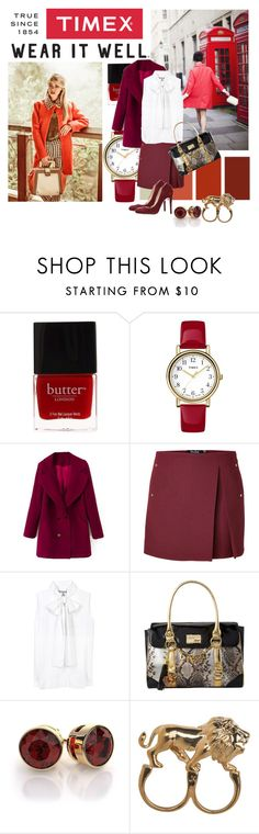 """""""Timex Contest Entry: How will you #WearItWell this holiday season?"""" by cnle ❤ liked on Polyvore featuring Timex, Butter London, Seed Design, Marios Schwab, Victoria Beckham, Lipsy, Stussy, Paul & Betty and WearItWell"""