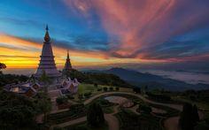 Indir duvar kağıdı Bangkok, tapınak, ulusal park, Gün batımı, Asya, Tayland