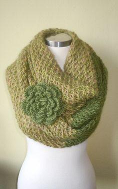 Green Scarfinfinity scarf NECKWARMERSHAWL it's make you by mucar