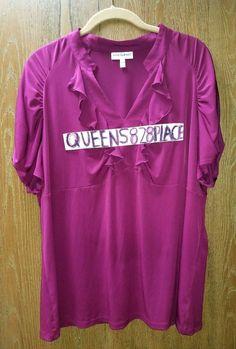 Fashion Bug Womens plus size 22 24W 3X Stretch purple ruffled blouse Top S/S B88 #FashionBug #Blouse #Casualwork