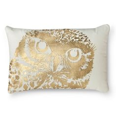 Metallic Owl Decorative Lumbar Pillow - White - Threshold™
