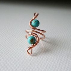 Turquoise Ear cuff copper wire and stone by SimplyWireWrapped