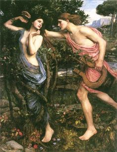 Apollo and Daphne by John William Waterhouse. Waterhouse is my favorite artist of all time, and he has captured the Greek God Apollo beautifully, and Daphne's facial expression just tells what's going on between the two.