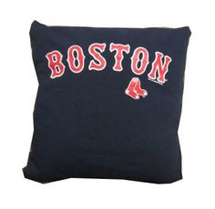 Red Sox Boston navy blue baseball recycled t-shirt pillow $25  - good idea for a man cave (this would be great with a Thunder shirt!)