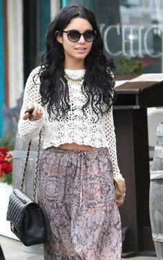 Vanessa Hudgens Style: Boho Gypsy Floral Maxi Skirt & Crochet Top