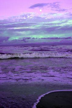 a violet ocean sky