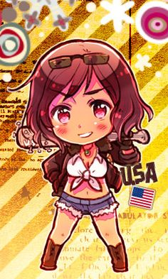 Axis Powers Hetalia-Another Color! (Commonly referred to as 2P designs) 2P! Nyotalia America as of 2011.
