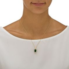".18 TCW Emerald-Cut Simulated Green Emerald and Cubic Zirconia Pendant Necklace 18k Yellow Gold-Plated 18""-20"" on PalmBeach Jewelry"
