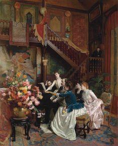 Albert Bierstadt, Alfred Stevens, August Sander, Great Paintings, Old Paintings, Academic Art, Partition, Victorian Art, Victorian Paintings