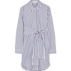 T by Alexander Wang Tie-front striped cotton-poplin mini dress (14.205 UYU) ❤ liked on Polyvore featuring dresses, vestidos, white blue dress, striped dress, loose mini dress, tie front dress and mini dress